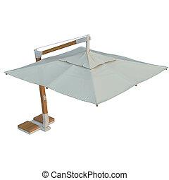Patio modern square beach umbrella for relax 3D graphic