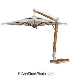 Square beach umbrella, sun protection. 3D graphic