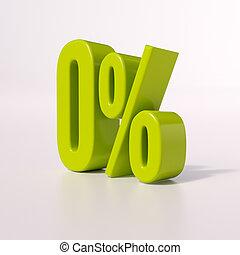 Percentage sign, 0 percent - 3d render: green 0 percent,...