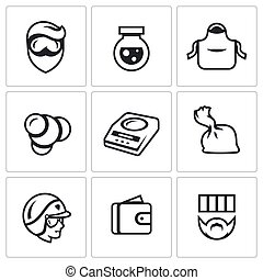 Vector Set of Drug Dealer Labs Icons - Prohibition of the...