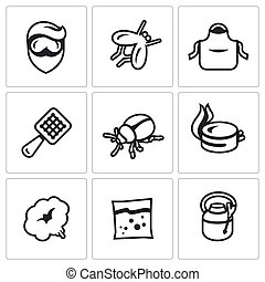 Vector Set of Disinfection Icons - Harassment of insects in...