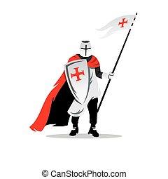 Vector Knight Cartoon Illustration. - Crusader helmet with...