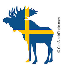 Swedish flag and moose