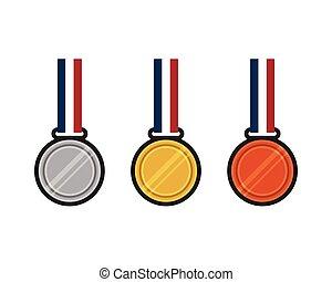 Set of gold, silver, bronze medal flat design vector illustration