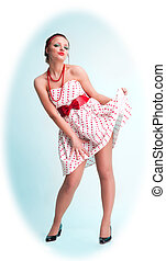 Pinup with attractive girl - lovely pinup style girl in...