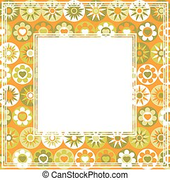 floral orange border - Abstract green-orange border with...