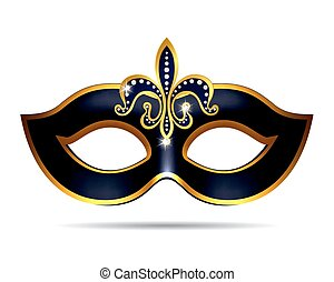 Black carnival mask for masquerade costume Isolated on white...