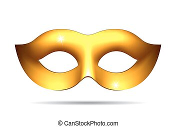 Gold carnival mask for masquerade costume Isolated on white...