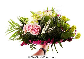 Giving a flower bouquet with Hydrangea