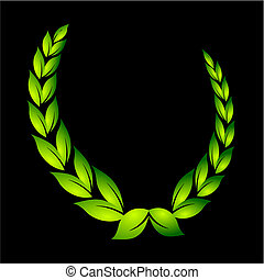 laurel wreath on black