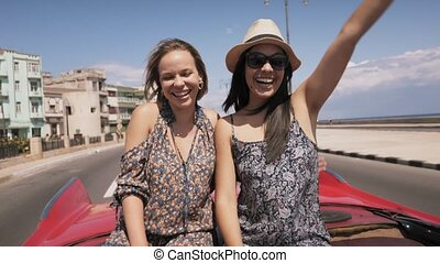 15-Slowmotion Happy Tourist In Cuba On Vintage Car Send Kiss...