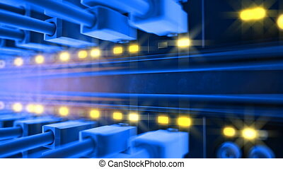 server room loop ready animation 3d rendering - server room...