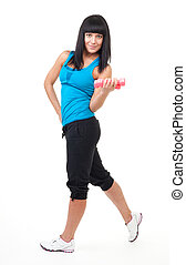 Fitness instructor stand with dumbbells