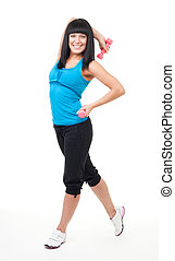 Happy smile woman with dumbbell