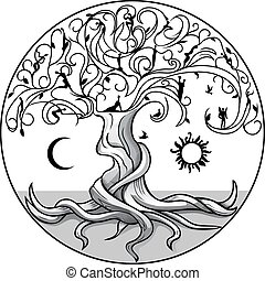 Tree of life2 - Tree of life with sun and moon on white...