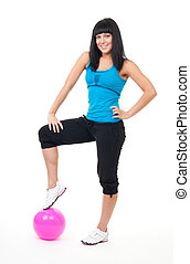 Cheerful Woman doing fitness