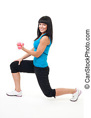 Woman do fitness stand with dumbbells