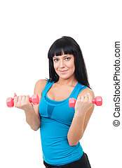 Happy young woman with dumbbells