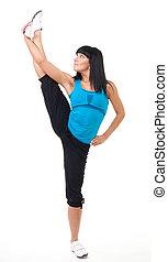 Fitness instructor show leg stretch