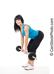 dead lift exercise - Woman instructor show dead lift...