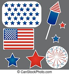 Set of stickers for Independence Day.