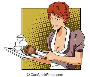 The waitress with a tray delivers breakfast. - People in...