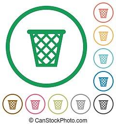 Trash outlined flat icons - Set of trash color round...