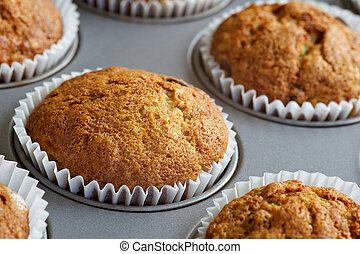 Banana Muffins in Baking Tray - Several banana muffins...
