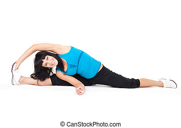 Body stretching sitting on splits - Woman do body stretching...