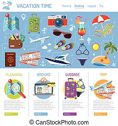 Vacation and Tourism Infographics with Flat Icons for Mobile...