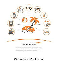 Vacation Time and Tourism Concept with Icons for Mobile...