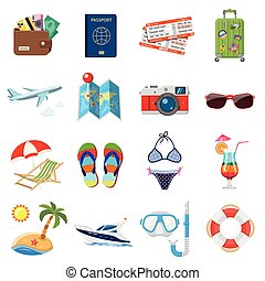 Vacation and Tourism Flat Icons Set for Mobile Applications,...