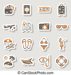 Vacation and Tourism Icons Sticker Set for Mobile...