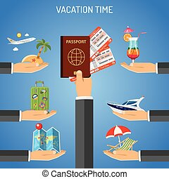 Vacation and Tourism Concept - Vacation and Tourism Frame...