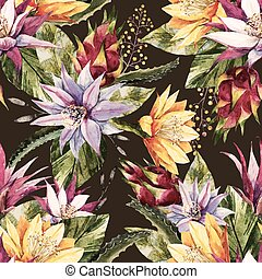 Watercolor tropical pattern - Beautiful pattern with nice...