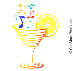 cocktail and sheet music