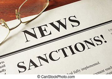 sanctions concept - Newspaper with word news and sanctions