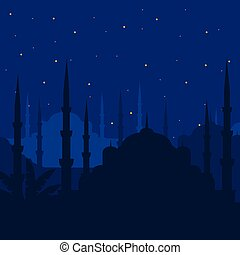 The Blue Mosque, Sultanahmet Camii, Istanbul, Turkey, middle east islamic architecture in Night