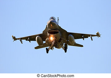 F-16 landing - LEEUWARDEN, THE NETHERLANDS - APR 11, 2016:...