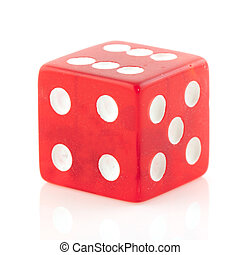 Red die to play a game isolated over white