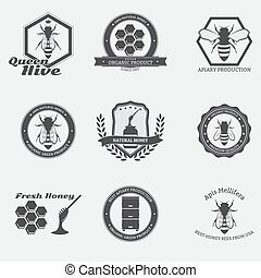 Bee emblems - Retro black bee emblems with worker bees and...