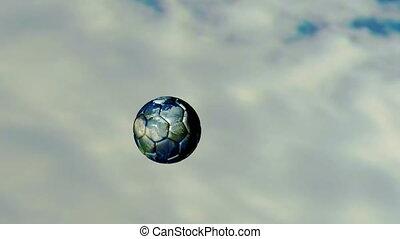 animation of soccer ball around the world sky