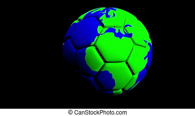 animation of soccer ball around the world