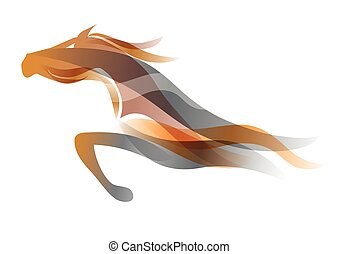 Running horse - Colorful stylized illustration of running...