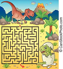 Maze 3 with dinosaur theme 2 - eps10 vector illustration