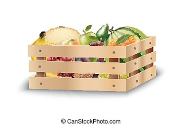 Fresh fruits in wooden crates