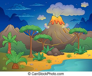 Prehistoric night landscape 1 - eps10 vector illustration.