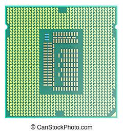 CPU chip, central processor unit, top view isolated on white...