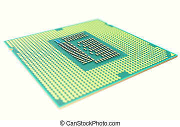 CPU chip, central processor unit, isolated on white with...