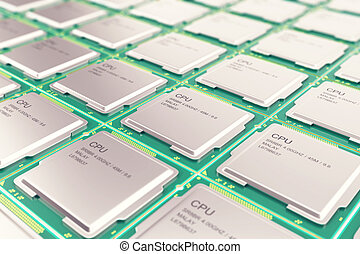 Computer PC CPU chip electronics industry concept, close-up...